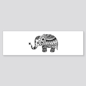 Cute Floral Elephant In Black Bumper Sticker