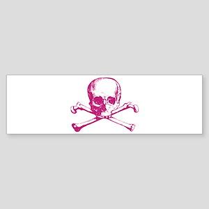 Hot Pink Cross Bones Bumper Sticker