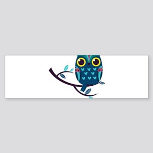 Dark Teal Owl Bumper Sticker
