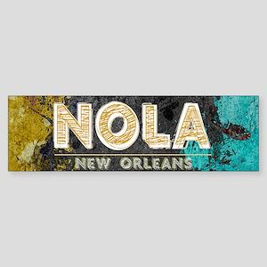 NOLA New Orleans Black Gold Turquoi Bumper Sticker