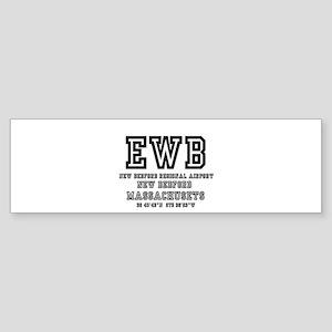 AIRPORT CODES - EWB - NEW BEDFORD, Bumper Sticker