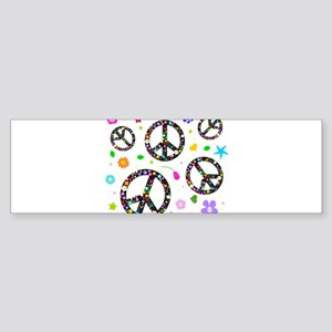 Peace symbols and flowers pat Sticker (Bumper)
