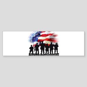 Patriotic American Flag Soldiers Ne Bumper Sticker