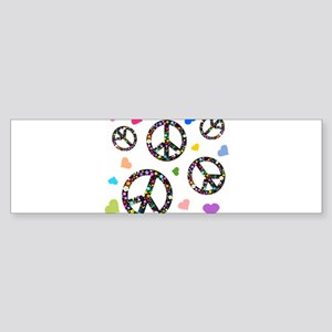 Peace signs and hearts patter Sticker (Bumper)