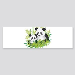 Two Pandas in Bamboo Bumper Sticker