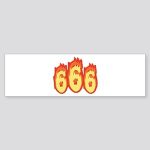 666 Flames Bumper Sticker