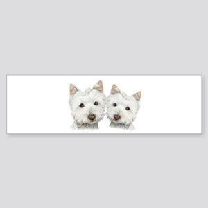 Two Cute West Highland White Dogs Sticker (Bumper)