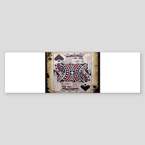 distressed poker king card Bumper Sticker