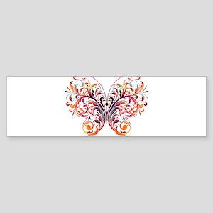 Scroll Butterfly Bumper Sticker