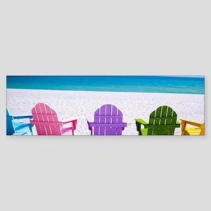 Lounge Chairs On Beach Bumper Sticker
