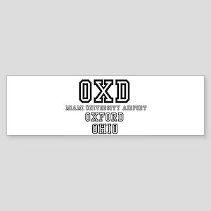 UNIVERSITY AIRPORT CODES - OXD - MI Bumper Sticker
