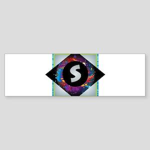 S - Letter S Monogram - Black Diamo Bumper Sticker