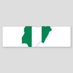 Nigeria Flag and Map Sticker (Bumper)
