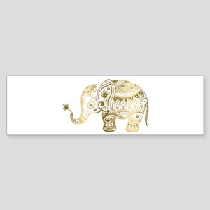 Gold tones cute tribal elephant ill Bumper Sticker