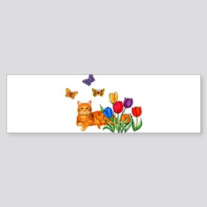 Orange Cat In Tulips Bumper Sticker