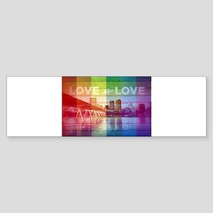 RVA SKYLINE, RAINBOW LOVE IS LOVE Bumper Sticker