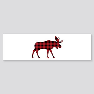 Plaid Moose Animal Silhouette Bumper Sticker