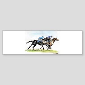 Horse race watercolor Sticker (Bumper)