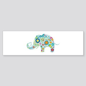 Colorful Retro Flowers Elephant Shape Bumper Stick