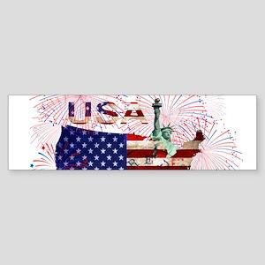 USA FIREWORKS STARS STRIPES LADY LI Bumper Sticker