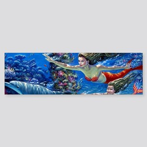Mermaid And Her Daughter Swimming Bumper Sticker