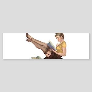 Librarian Student Pin Up Girl Bumper Sticker