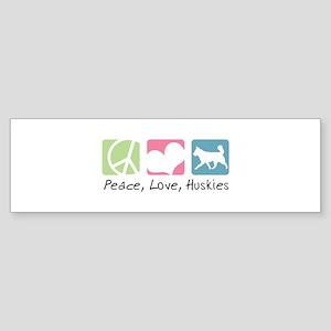 Peace, Love, Huskies Sticker (Bumper)