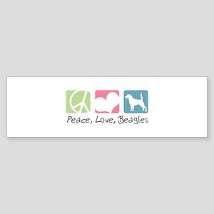 Peace, Love, Beagles Sticker (Bumper)