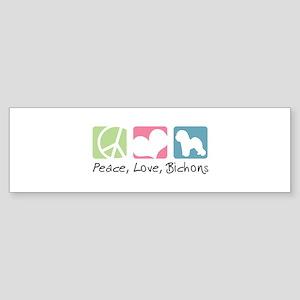 Peace, Love, Bichons Sticker (Bumper)