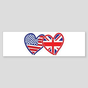 American Flag/Union Jack Flag Hearts Sticker (Bump
