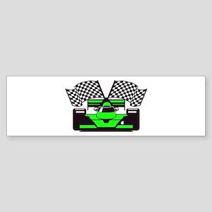 LIME GREEN RACE CAR Bumper Sticker