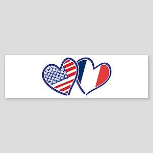 USA France Love Hearts Bumper Sticker
