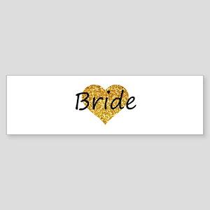 bride gold glitter heart Bumper Sticker