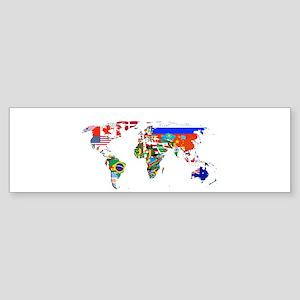 World flag map Bumper Sticker