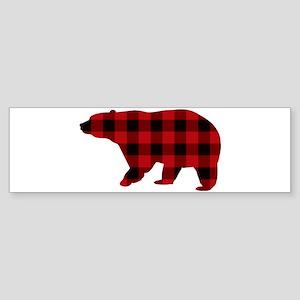 lumberjack buffalo plaid Bear Bumper Sticker