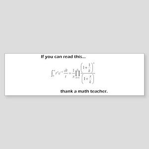Thank A Math Teacher Sticker (Bumper)