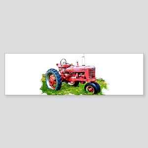 Red Tractor in the Grass Bumper Sticker