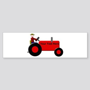 Personalized Red Tractor Sticker (Bumper)