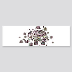 Cute Pastel Colors Floral Elephant Bumper Sticker