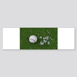 Baseball Broken Glass on Gras Sticker (Bumper)