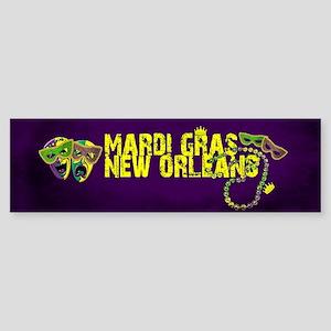 Mardi Gras New Orleans Mask Beads C Bumper Sticker