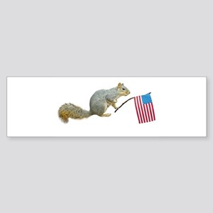 Squirrel with American Flag Bumper Sticker