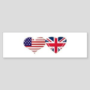 USA and UK Heart Flag Sticker (Bumper)