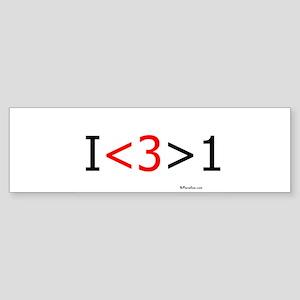 I love more than one (red hea Bumper Sticker