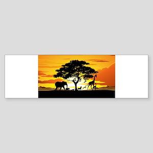 Wild Animals on African Savannah Sunset Bumper Sti