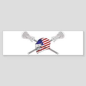 American Flag Lacrosse Helmet Bumper Sticker