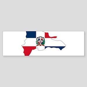 Dominican Republic Flag and Map Sticker (Bumper)