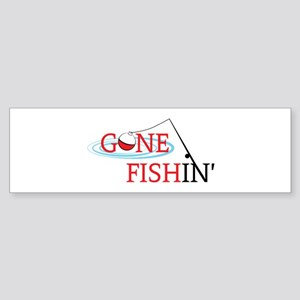 Gone fishing bobber and fishing pole Bumper Sticke