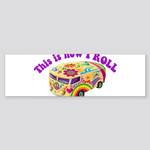 How I Roll Hippie Van Sticker (Bumper)