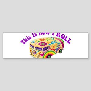 How I Roll Hippie Van Sticker (Bumper)